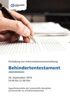 """20. September 2018: Info-Veranstaltung """"Behindertentestament"""" - Vorankündigung"""