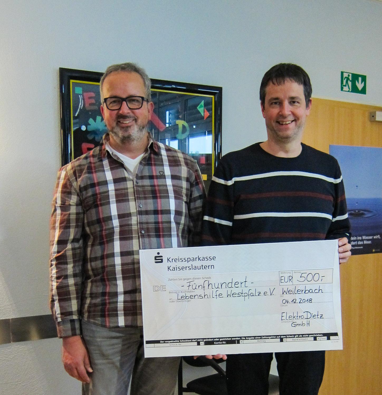 Elektro Dietz Weilerbach spendet für die Lebenshilfe Westpfalz