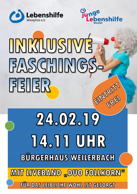 24. Februar 2019: Inklusive Faschingsfeier der Lebenshilfe Westpfalz - Vorschau