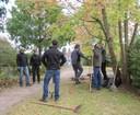 Gruppenarbeit im Herbstwald