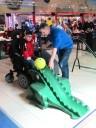 im Rollstuhl mit Rampe